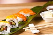 picture of souse  - delicious  sushi set with soy souse and ginger - JPG