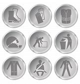 picture of ppe  - Monochrome construction manufacturing and engineering health and safety related icon set isolated on white background - JPG