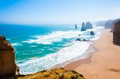 picture of 12 apostles  - The Twelve Apostles a famous collection of limestone stacks off the shore of the Port Campbell National Park by the Great Ocean Road in Victoria Australia - JPG