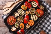 picture of grill  - grilled vegetables in a pan grill closeup - JPG