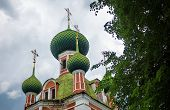 foto of cupola  - Green cupolas of the Alexandr Nevsky church in Pereslavl - JPG