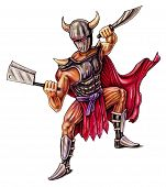 stock photo of sparta  - Warrior with steel knife in armor and a red cloak  - JPG