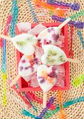 picture of popsicle  - Homemade frozen popsicles with yogurt and fresh fruits - JPG
