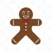 picture of gingerbread man  - Gingerbread man on gingerbread man pattern background vector illustration - JPG