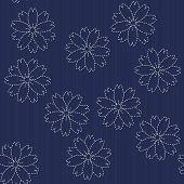 stock photo of sakura  - Traditional Japanese Embroidery Ornament with blooming sakura flowers - JPG