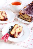 foto of pound cake  - Berry swirl pound cake with vanilla glaze - JPG