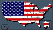 stock photo of usa map  - Illustration of a USA Map with Flag Background - JPG