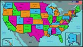 stock photo of texas map  - Illustration of a United States of America Political Map - JPG