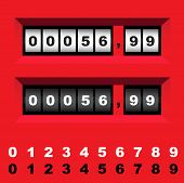 image of numbers counting  - counter countdown clock number count vector time panel - JPG