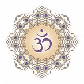 stock photo of lord krishna  - purple symbol Om and frame from peacock feathers - JPG