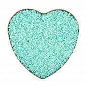 foto of crystal salt  - Heart shaped box filled with green colored salt crystals - JPG