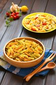 foto of pasta  - Raw tricolor fusilli or rotini pasta  - JPG