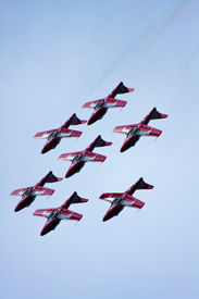stock photo of snowbird  - Snowbirds Inverted Flying Formation during an airshow - JPG