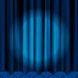 stock photo of curtains stage  - Blue curtains to theater stage - JPG
