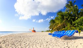 picture of helicopters  - Helicopter on caribbean beach in Dominican Republic - JPG