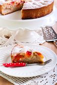 picture of sponge-cake  - Plum sponge cake with icing sugar on top - JPG