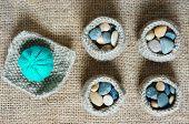 foto of knitting  - Handmade product from fibre hand made basket make from knit knitting heart leisure with art hobby lovely creatve - JPG