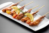 picture of thai cuisine  - Fresh made chicken wing satay skewer Traditional thai cuisine - JPG