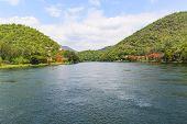 stock photo of dam  - Ping river below DAM in Tak Thailand - JPG