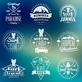 Summer Holidays Design Elements. Set Of Hipster Vintage Logotypes And Badges On Colorful Background poster