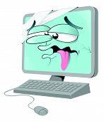 Cartoon Sick Computer