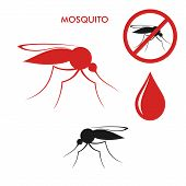 picture of mosquito  - Isolated red and black mosquitoes with a blood drop on a white background - JPG