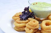 foto of souse  - Fried onion rings with green souse on plate - JPG