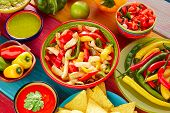 picture of nachos  - Chicken fajitas with mexican food guacamole pico de gallo chili peppers sauce and nachos - JPG