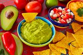 pic of nachos  - Mexican food nachos guacamole pico de gallo and dipping cheddar cheese - JPG