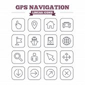 picture of petrol  - GPS navigation linear icons set - JPG