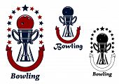 picture of bowling ball  - Bowling game icons design with bowling ball on the top of  trophy cup - JPG