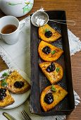 stock photo of french-toast  - Homemade french toast with jam and fresh mint - JPG