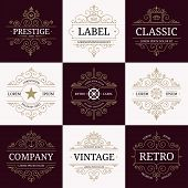 Set of retro vintage luxury logotypes poster