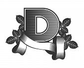 stock photo of letter d  - Vintage letter randomly drawn bars decorated with ribbons and leaves roses on a white background letter D - JPG