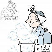 image of wash-basin  - Woman doing the washing in the plastic wash basin - JPG