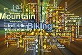 image of dirt-bike  - Background concept wordcloud illustration of mountain biking glowing light - JPG