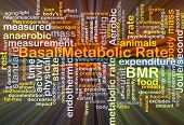 Background concept wordcloud illustration of basal metabolic rate BMR glowing light poster
