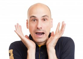 pic of bald head  - Surprised bald man isolated on a white background - JPG