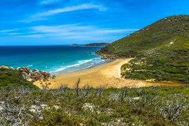 stock photo of promontory  - Top view of Squeaky Beach in Wilsons Promontory National Park - JPG