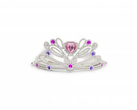 foto of princess crown  - Silver princess crown isolated on white background - JPG