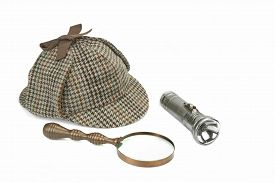 pic of investigation  - Sherlock Holmes Deerstalker Cap Vintage Magnifying Glass And Retro Flashlight Isolated On White Background - JPG