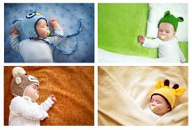 foto of baby frog  - set of colourful pictures of sleeping baby in animal hats - JPG