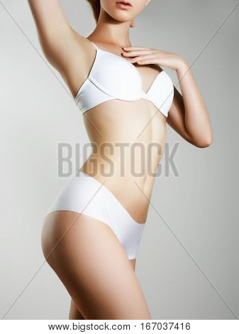 poster of Beautiful Slim Woman's Body. Perfect Slim Toned Young Body