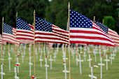 American Flags And Crosses