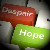 Despair Or Hope Computer Keys 3D Rendering poster