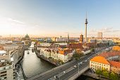 Berlin Aerial View At Sunset poster