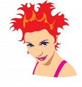 The vector colorful  girl face over the white background