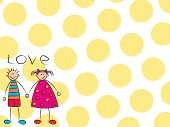 Boy + Girl = Love In Yellow Background