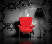stock photo of interior  - 3D interior scene with classic armchair and lamp - JPG
