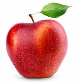 Red Apple Fruit With Green Leaf Isolated On White poster